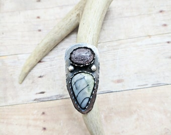 Garden Quartz and Spider Web Jasper Silver Ring size 6 7 8 9 10, custom sized, unique engagement ring, yoga jewelry gift for teacher, boho
