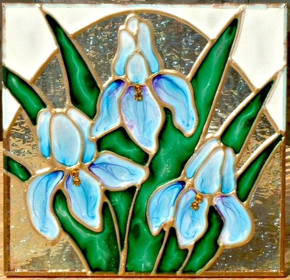 Decorative Night Lights Blue Iris Flower Night Light Unique Stained Glass Night  Light Plug In Blue Bathroom Night Light Flower Nightlight