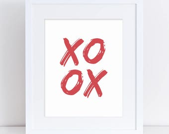 Xoxo Love Printable, Red Home Decor, Red Printable Art, Valentine xoxo, Xoxo Red, Valentine Art Print, Red Nursery Art, Red Wedding Poster