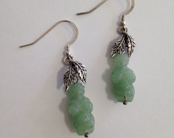 Green Aventurine Venus of Willendorf Drop Leaf Sterling Silver Earrings