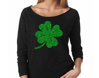 GLITTER Saint Patrick's Day Shirt, Green Glitter Shirt, St. Patty's Day Shirts, Four Leaf Clover Shirts, Women's Shirt, Saint Patty's Day