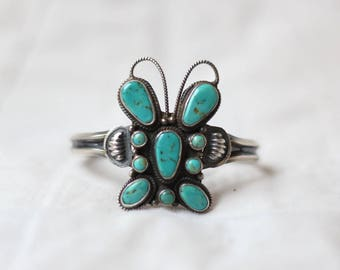 Navajo Turquoise Butterfly Cuff >> Vintage Dean Brown Sterling Silver Bracelet