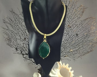 Green Agate Pendant on Gold Rope Necklace / Green Agate Stone Pendant