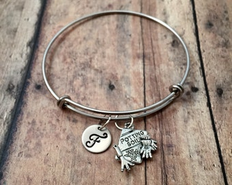 Gardening initial bangle - gardener bracelet, gardening jewelry, potting soil charm bracelet, gift for gardener, garden bracelet