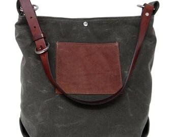 Daytona Waxed Canvas Hobo Bag - Green with Recycled Leather Belt Hobo Bag, Waxed Canvas Bag, Recycled Leather, Green Shoulder Bag