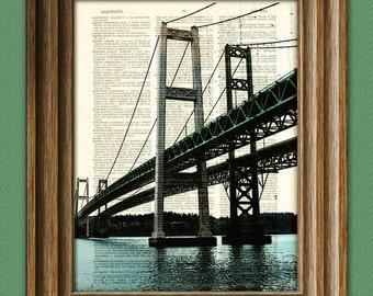 The Tacoma Narrows Bridge dictionary page book art print
