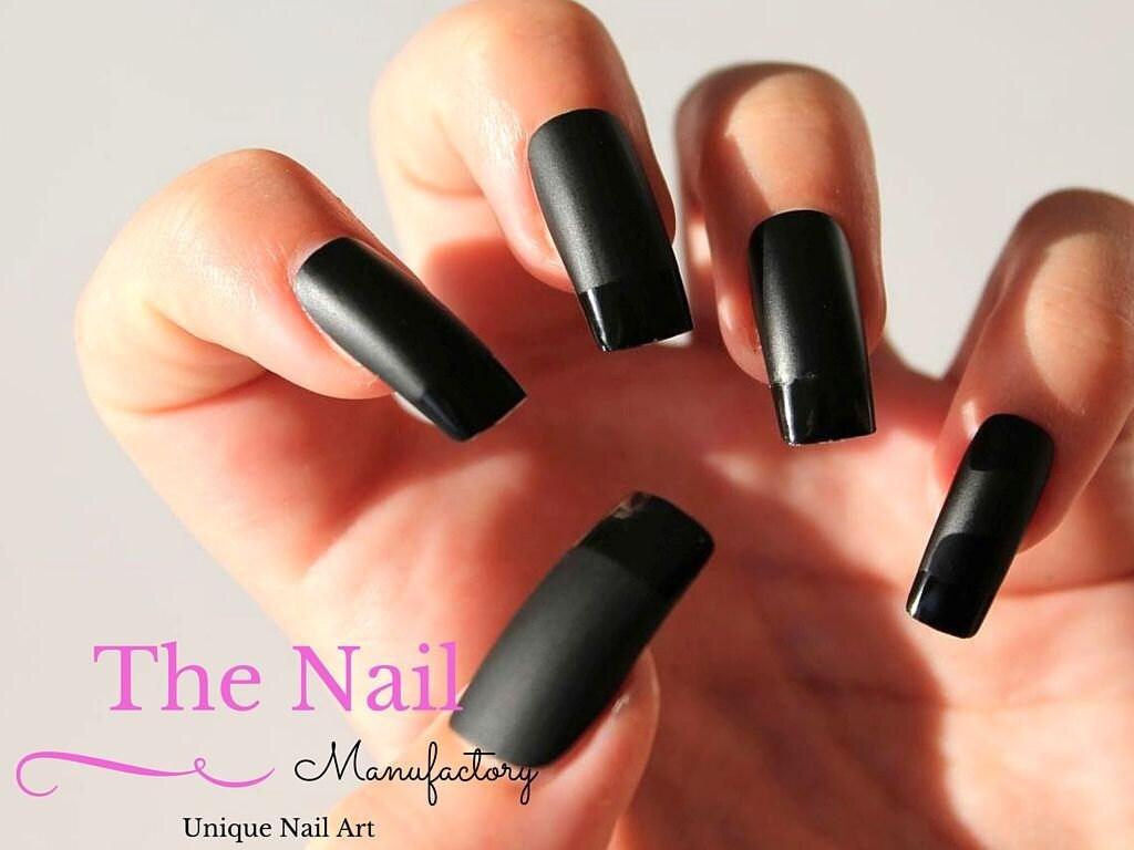 Fantastic Black Acrylic Nails Matte Adornment - Nail Art Ideas ...