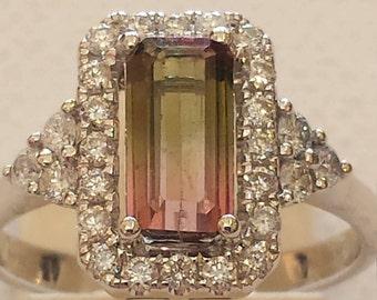 18 K white gold watermelon tourmaline and diamond ring