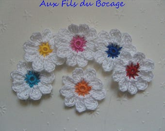 Crocheted appliques, set of 6, white and multicolor flowers