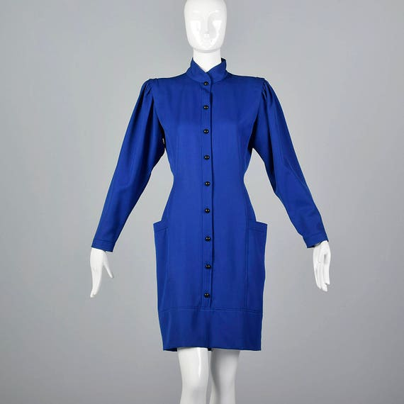 Blue Wool Dress Vintage Emanual Sleeves Length Pencil 80s 1980s Vintage Casual Knee Long Ungaro Medium Skirt 1980s Dress FYqRTaw