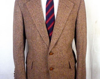 vtg Harvey Ltd Bespoke Canvassed Brown Tweed Herringbone Blazer Sportcoat 42 R
