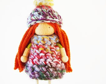 Cozy Sweater Winter Fairy Bendy Doll - Removable Sweather And Hat - Dress Up Doll - Costomised Doll Bendy Peg Doll