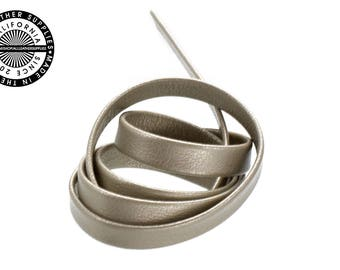"""Genuine Leather Strap, Folded Metallic Clay, 6mm (1/4"""" inch) 3 yards (108"""" inches)  (1704)"""