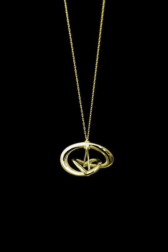 "3d Music Necklace - ""Triune"" - Original 14 Karat Gold Pendant - Fifth Octave Harmony - Techniflow Soundstill Series"