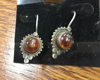 Vintage Sterling Silver 925 Orange Amber? Gemstone Earrings