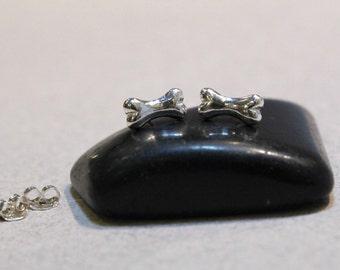 Dog Bone Sterling Silver Stud Earrings