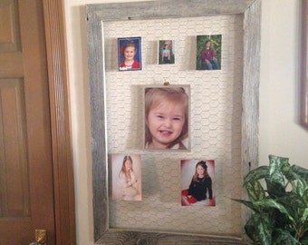 Distressed wood chicken wire Memory frame