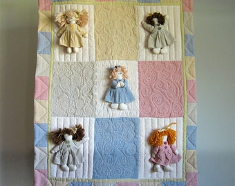Quilted Wall Hanging with Dolls Attached