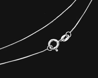 16 inches of 925 Sterling Silver Round Snake Chain Necklace 0.6 mm.   Delicated Chain. :th2580-16
