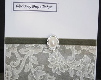 Handmade chiffon glitter lace effect Wedding card