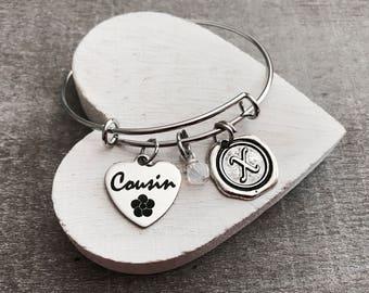 Cousin, little cousin, Gift for Cousin, Cousin Bracelet, Cousin Bangle,Silver Bracelet, Charm Bracelet, Teenager, Bridesmaid, Silver Jewelry