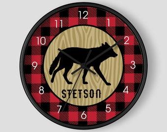 Buffalo Plaid Lumberjack Wolf Rustic Boy's Nursery Wall Clock 10-inch / Lumberjack Nursery / Log Home Decor
