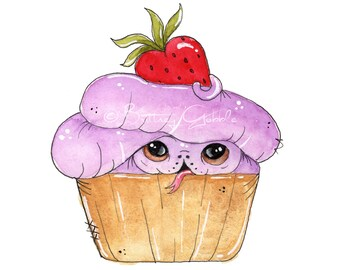 Strawberry Cupcake Ball Python- Art Print