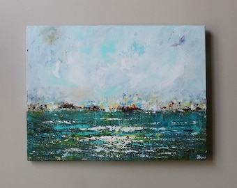 abstract painting ,sea,seascape,teal, turquoise abstract,sky,painting on canvas,Acrylic painting,original painting
