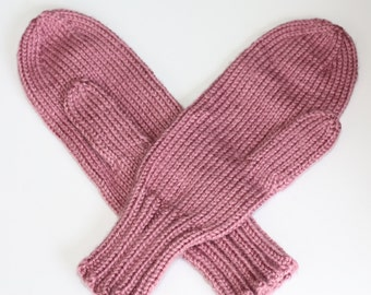 Pink Mittens, Knit Mittens Adults, Warm Mittens, Victorian Rose Mittens, Pink Knit Mittens, Winter Wedding Bridesmaid Gift, Knitted Mittens