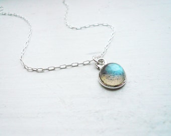 Tiny Labradorite Necklace in Sterling Silver - Dainty Everyday Labradorite Necklace, Tiny Pendant Necklace