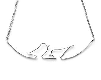 Birds Layering Necklace, Delicate Bird Necklace, Engagement Gifts Ideas for Best Friend, Two Birds on a Wire Necklace, Lovebirds Necklace