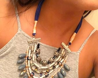 Blue bean necklace