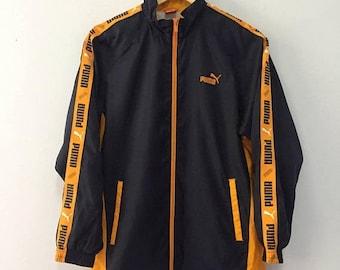 SALE 25% Vintage 90s Puma Windbreaker Jacket Stripes Hip Hop Swag