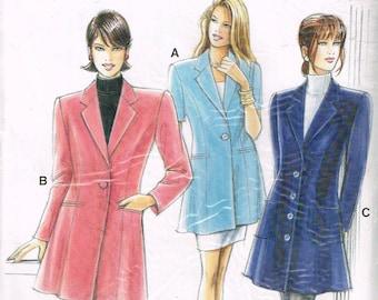 Size 8-22 Misses Jacket Sewing Pattern - Long Flared Jacket Pattern - Princess Seam Jacket - Below Hip Length Jacket  - Neue Mode 22015