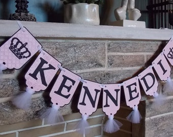 Girl's Custom Name Banner with Crowns, Pink, White and Black Banner, Birthday Banner, Baby Shower Decoration, Princess Banner