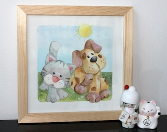 Watercolor with frame, square format: cat and dog