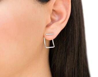 Silver ear jacket earrings jewelry, front back earrings, minimalist earrings, hypoallergenic earring, earring jackets, double sided earrings