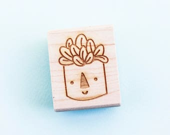 Happy Plant Rubber Stamp - Hand Drawn Stamp - Plant Stamp - Cactus Rubber Stamp - Succulent Stamp - Cute - Stocking Stuffer - Gifts for Her