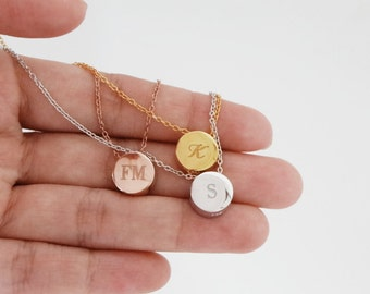 Personalize Tiny 3D Initial Circle Necklace Sterling Silver