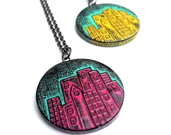 City Skyline Necklace, Cityscape Necklace, City Pendant, Urban Jewelry, Cityscape Jewelry, Gift for Daughter, Gift for Teen Girl