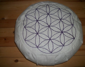 "Flower of Life Zafu Meditation Cushion. Purple stitching on Organic Flax/Linen Fabric 15""x5"" BuckwheatHulls 6"" L.SidewallZipper. HandmadeUSA"