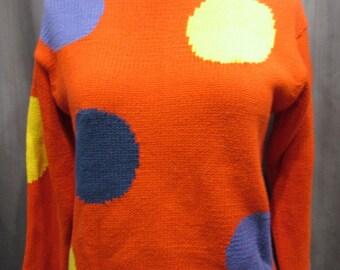 1980s Fun Pop Art Giant Polka-Dots 100% Cotton Sweater Size Small
