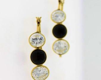 Three Stone Crystal & Onyx Hooped Earring- 14k Gold Jewelry