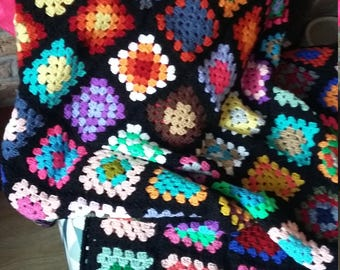 Traditional vintage Granny Square throw retro afghan sofa blanket multi colour