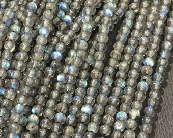 2mm smooth excellent quality labradorite beads FULL STRAND
