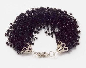 Christmas gift black bracelet for women birthday gift handmade bracelet witch jewelry infinity bracelet black jewelry bead bracelet gothic