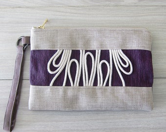 Beige and Purple Boho Wristlet With Removable Strap