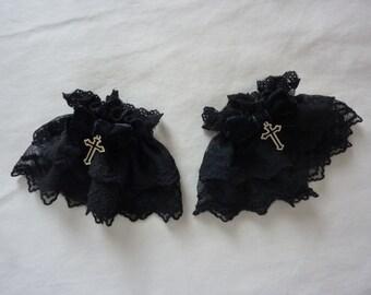 Star Cross Black Wrist Cuffs (2 set)