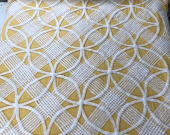 Wedding Ring Yellow and White Rayon Chenille Bedspread Cutter Crafting