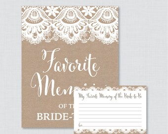 Favorite Memories of the Bride To Be Activity - Printable Burlap and Lace Bridal Shower - Rustic Burlap Bridal Shower Memory Activity - 0003